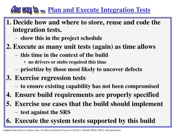 Plan and Execute Integration Tests