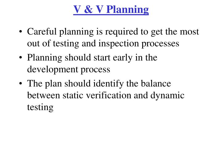 V & V Planning