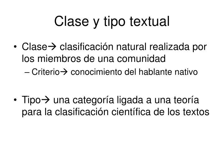 Clase y tipo textual