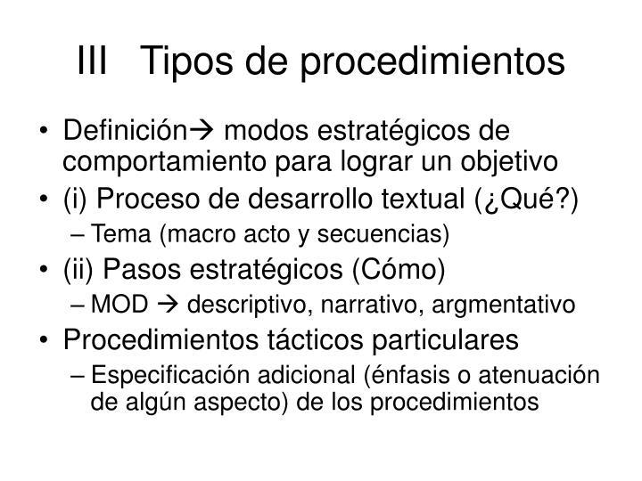 IIITipos de procedimientos