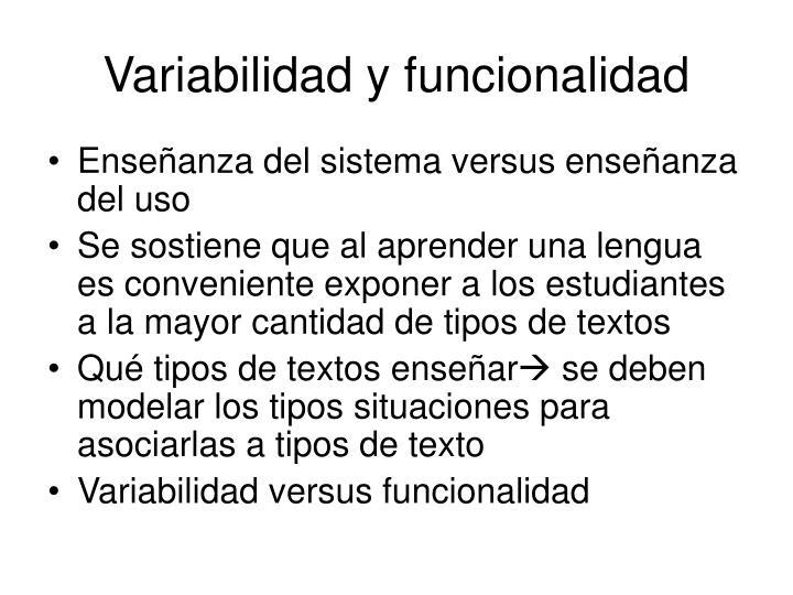 Variabilidad y funcionalidad