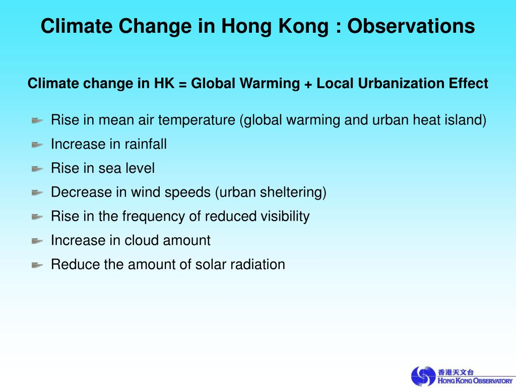 Climate Change in Hong Kong : Observations