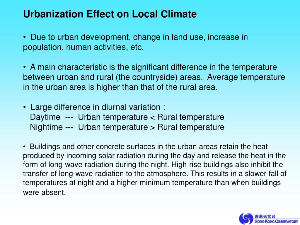 Urbanization Effect on Local Climate