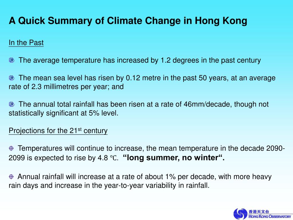 A Quick Summary of Climate Change in Hong Kong