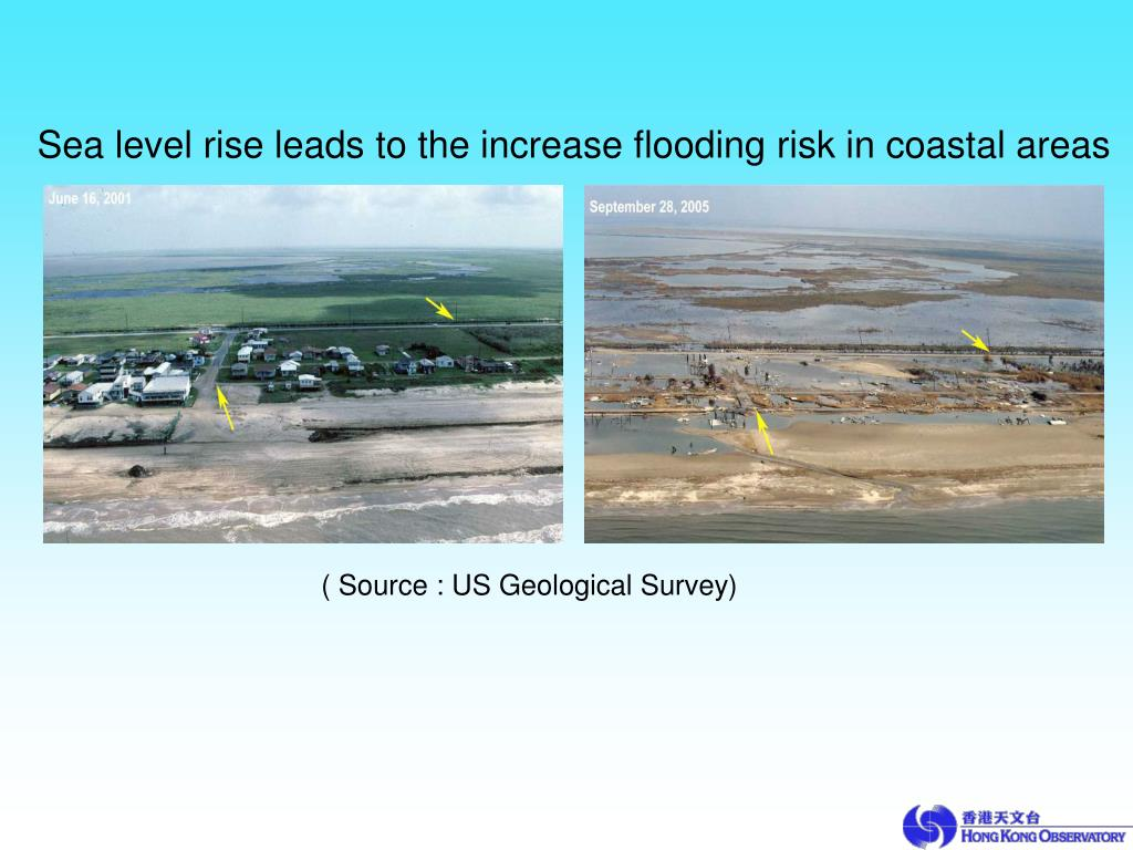 Sea level rise leads to the increase flooding risk in coastal areas