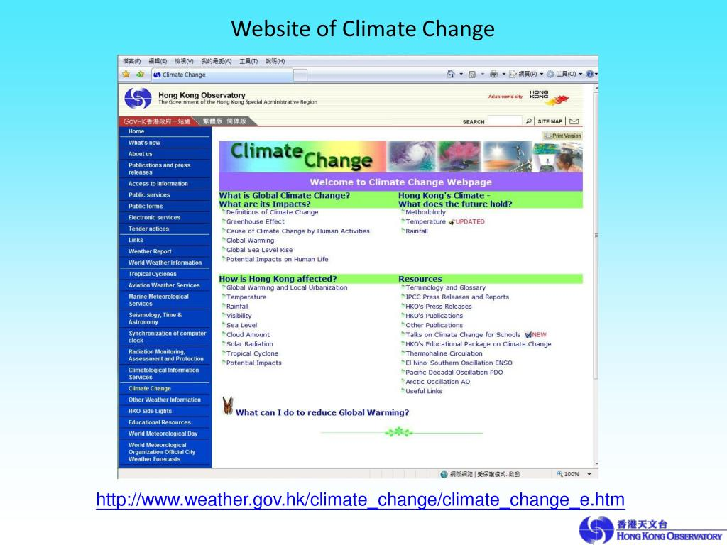 Website of Climate Change