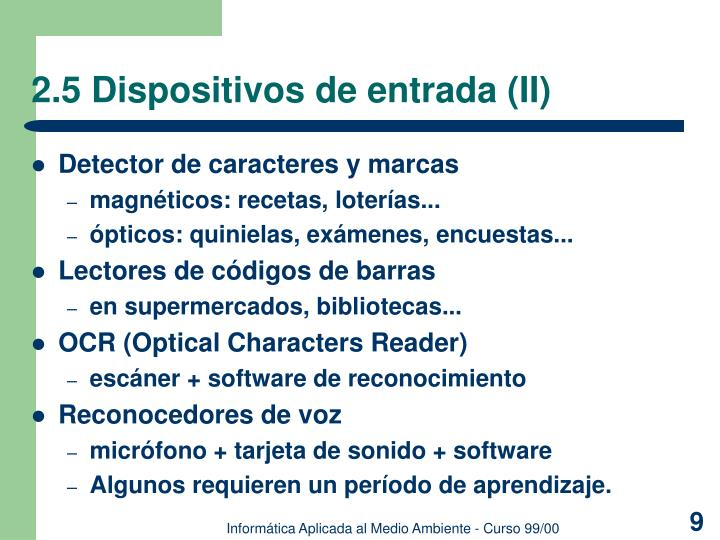 2.5 Dispositivos de entrada (II)