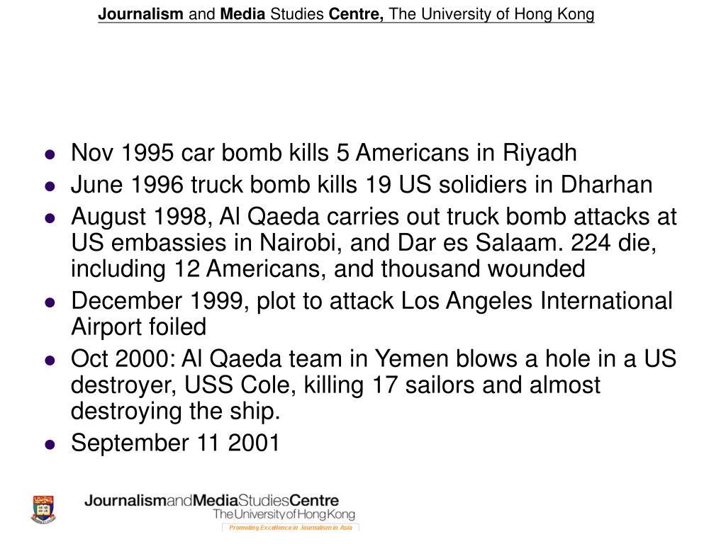 Nov 1995 car bomb kills 5 Americans in Riyadh