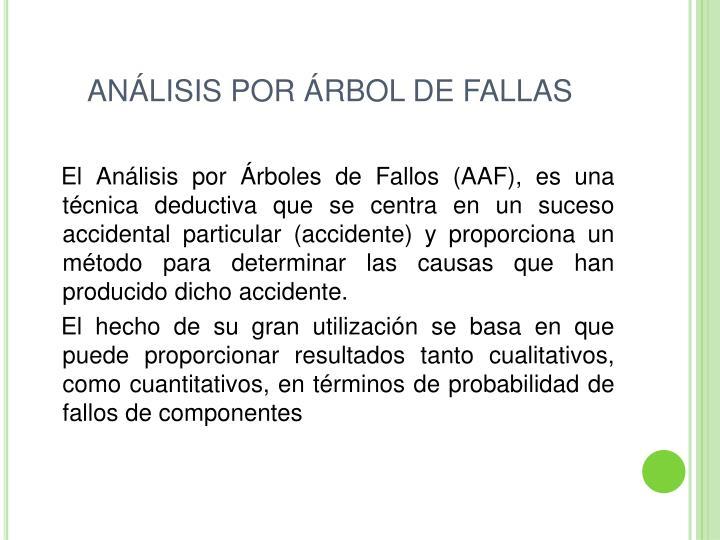 ANÁLISIS POR ÁRBOL DE FALLAS