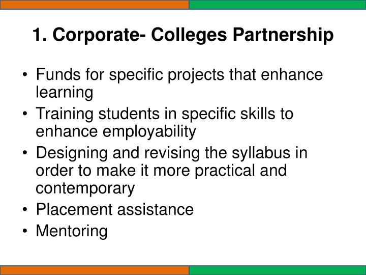 1. Corporate- Colleges Partnership