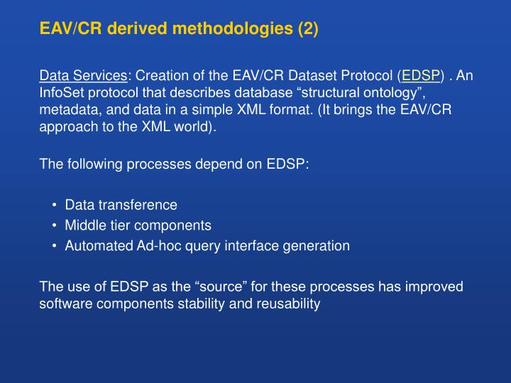 EAV/CR derived methodologies (2)