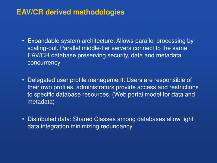 EAV/CR derived methodologies