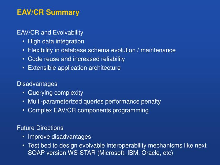 EAV/CR Summary