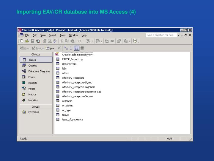 Importing EAV/CR database into MS Access (4)