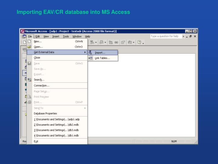 Importing EAV/CR database into MS Access
