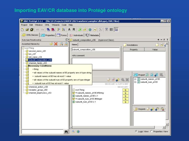 Importing EAV/CR database into Protégé ontology