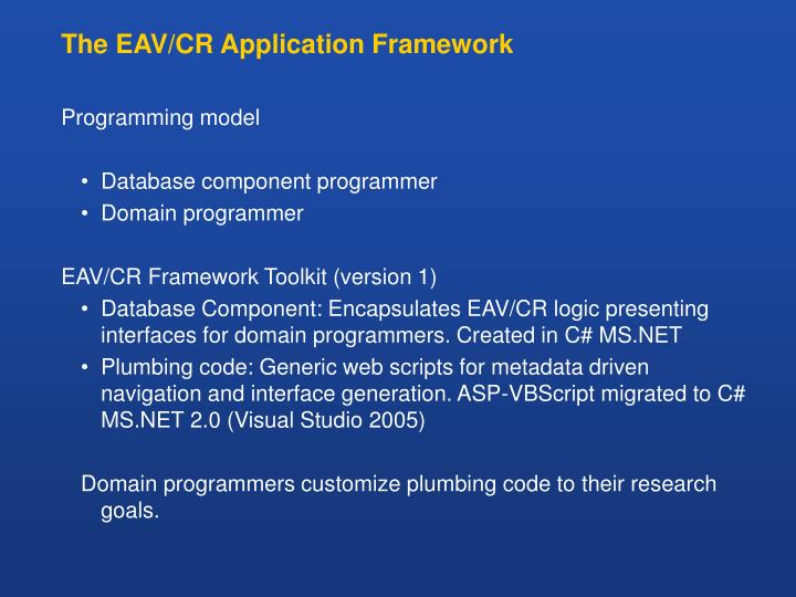 The EAV/CR Application Framework