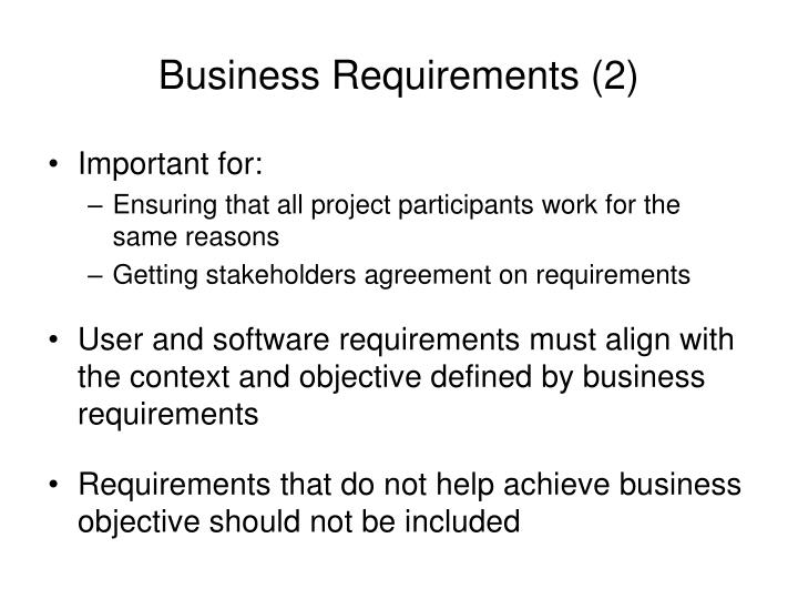 Business Requirements (2)