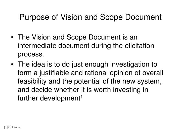 Purpose of Vision and Scope Document