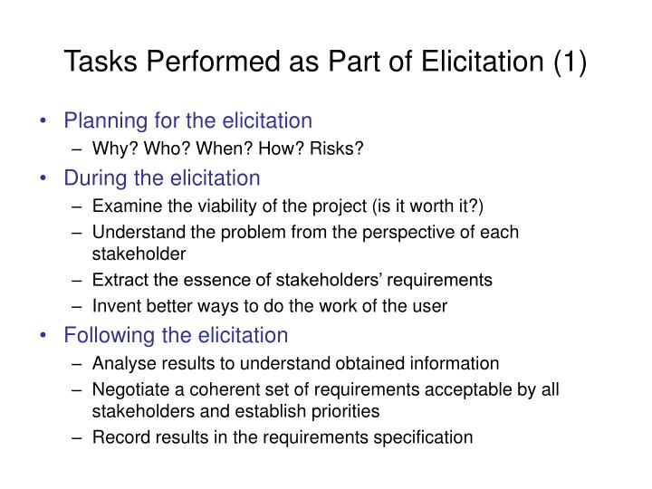 Tasks Performed as Part of Elicitation (1)