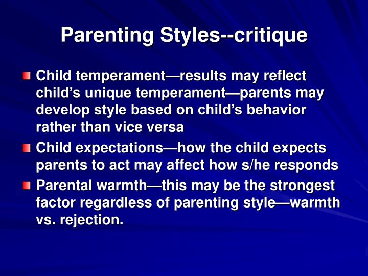 Parenting Styles--critique
