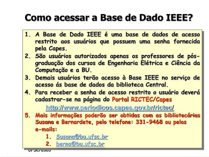 Como acessar a Base de Dado IEEE?