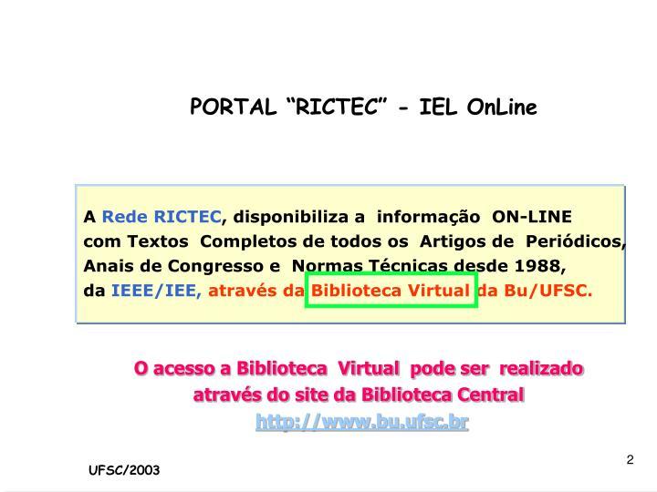 """PORTAL """"RICTEC"""" - IEL OnLine"""