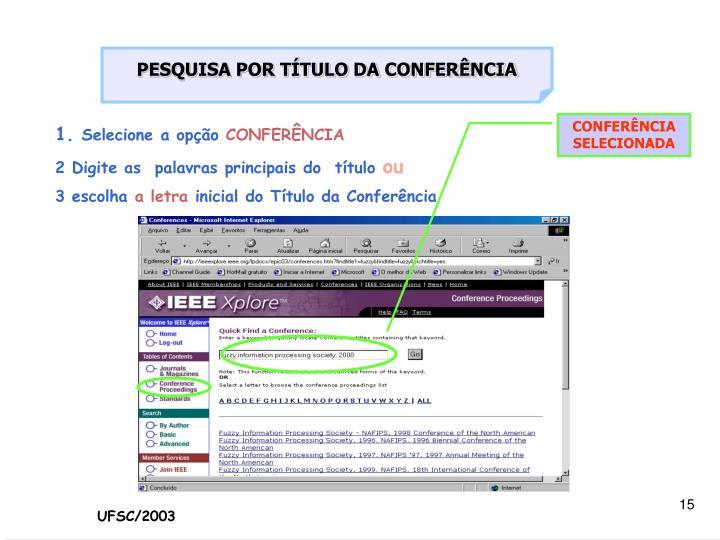 PESQUISA POR TÍTULO DA CONFERÊNCIA