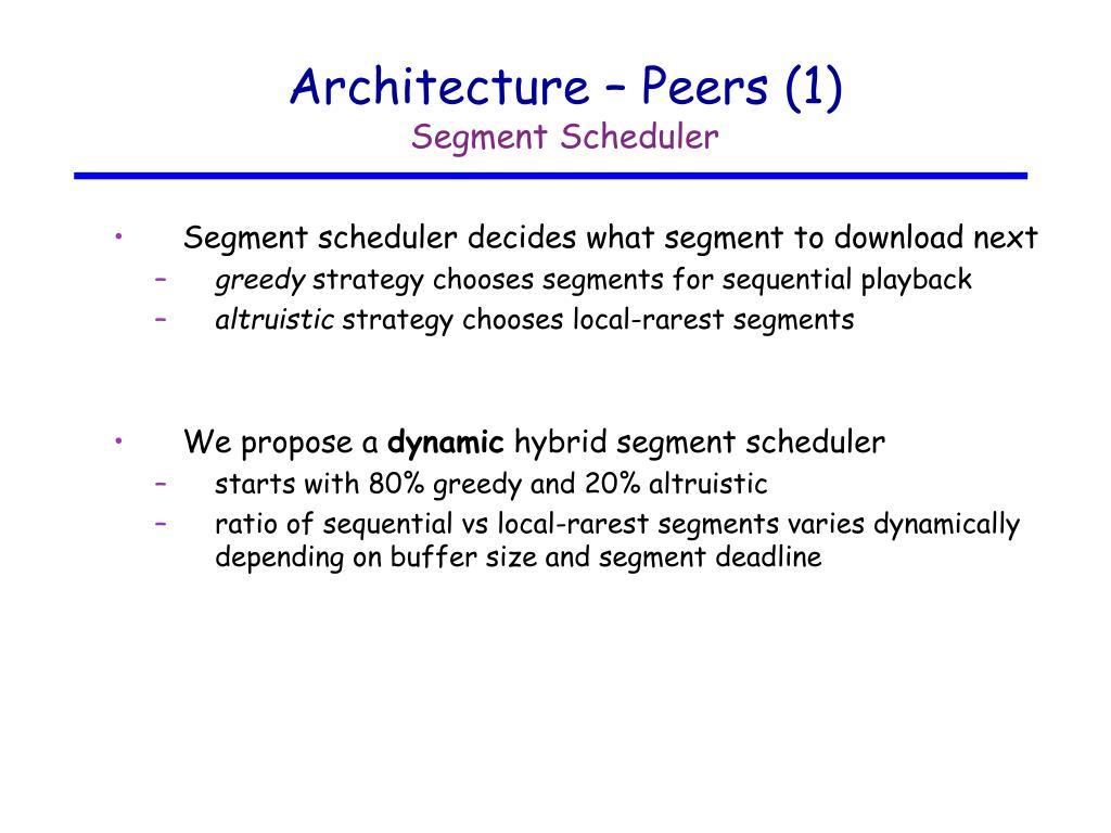 Architecture – Peers (1)