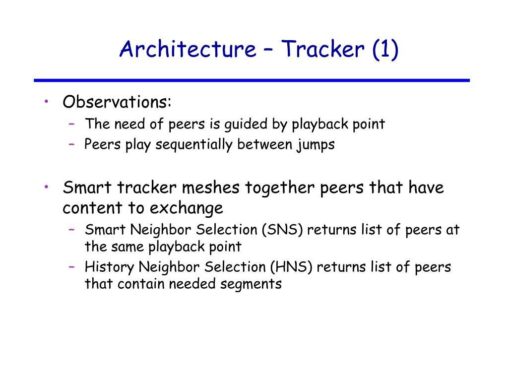 Architecture – Tracker (1)