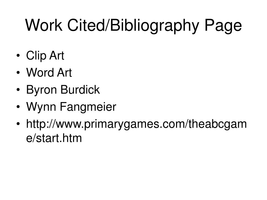 Work Cited/Bibliography Page