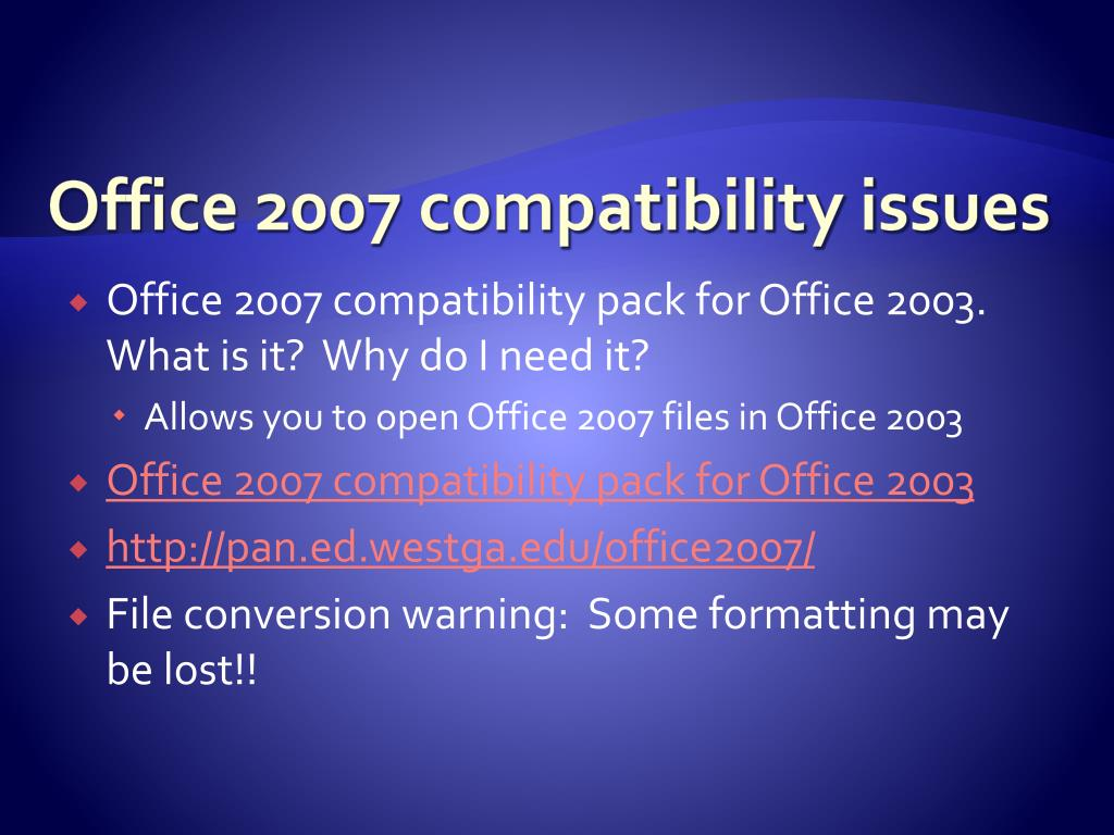 Office 2007 compatibility issues