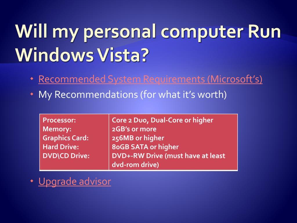 Will my personal computer Run Windows Vista?