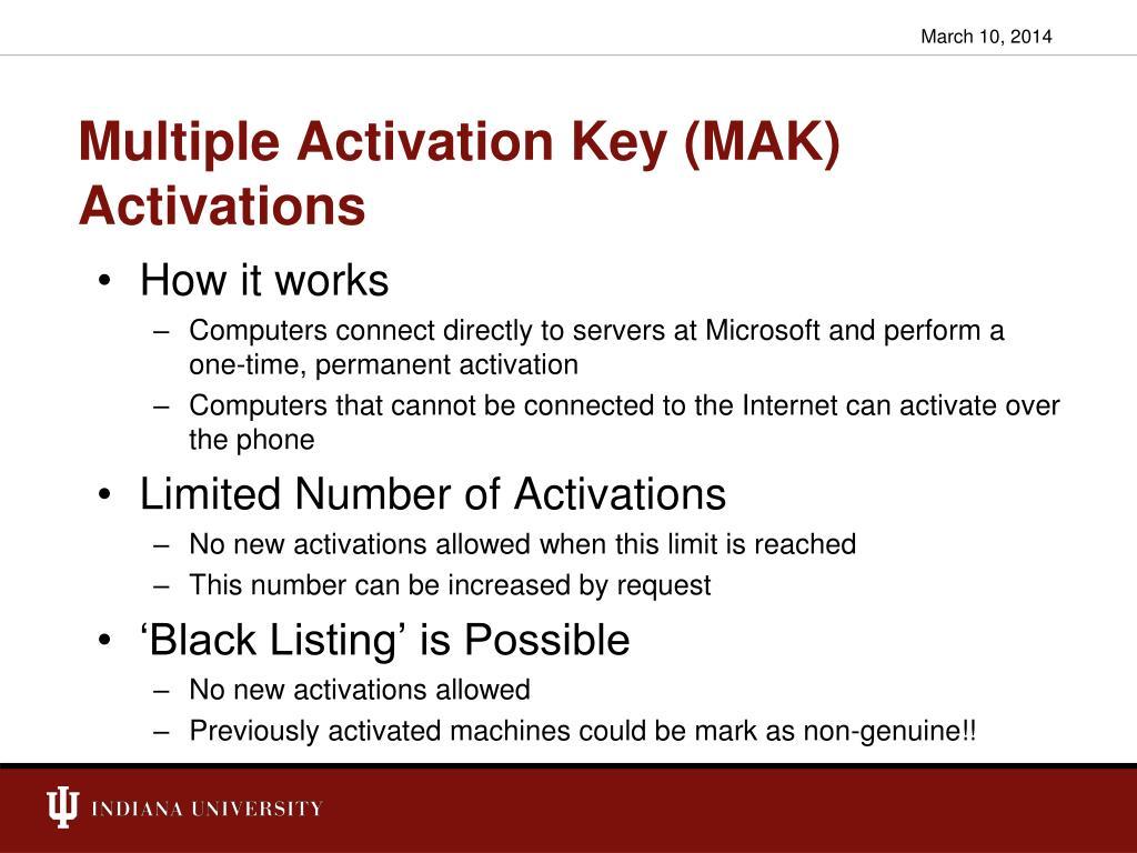 Multiple Activation Key (MAK) Activations