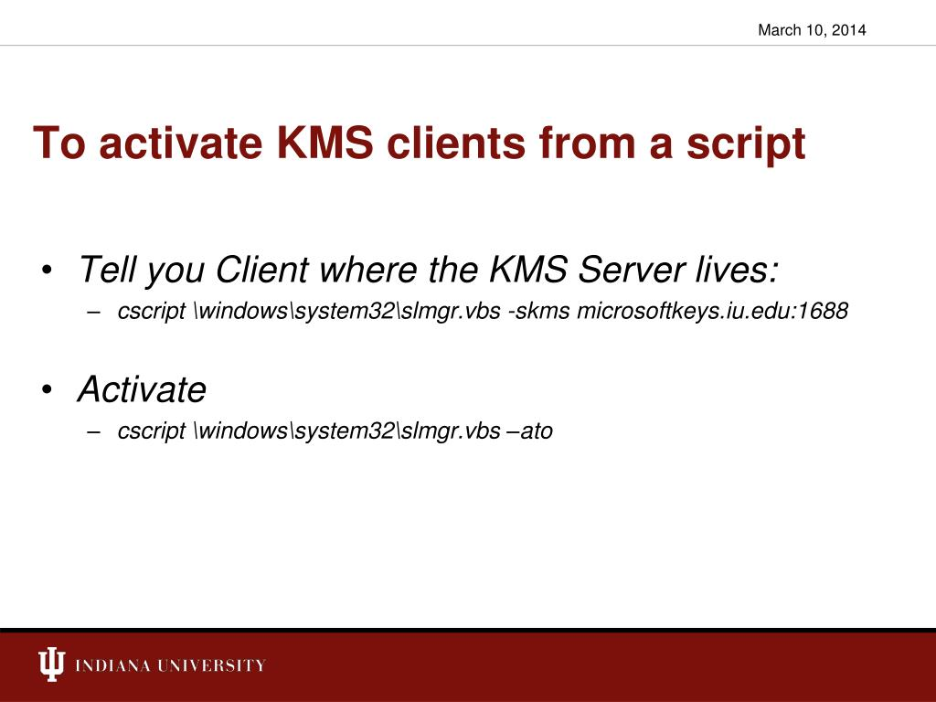 To activate KMS clients from a script