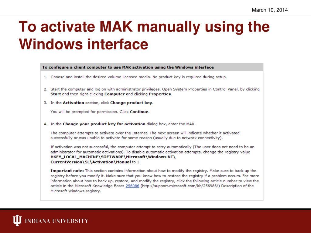 To activate MAK manually using the Windows interface