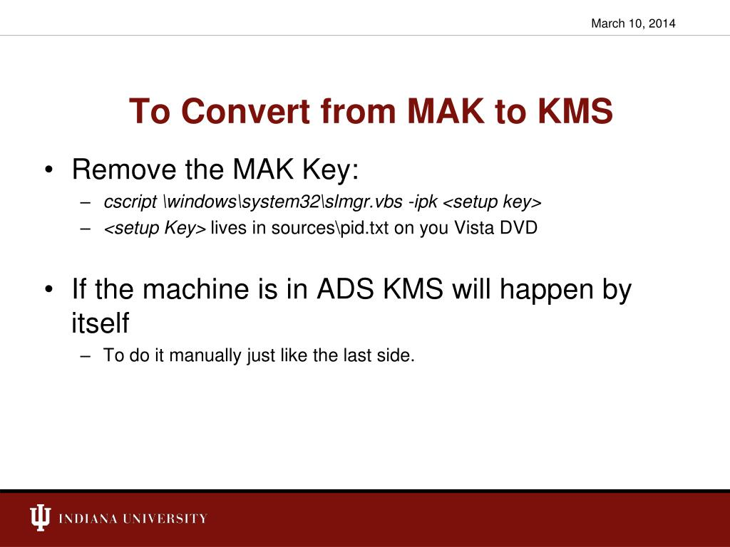 To Convert from MAK to KMS