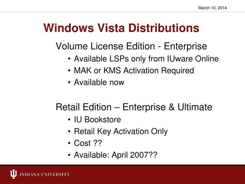 Windows Vista Distributions