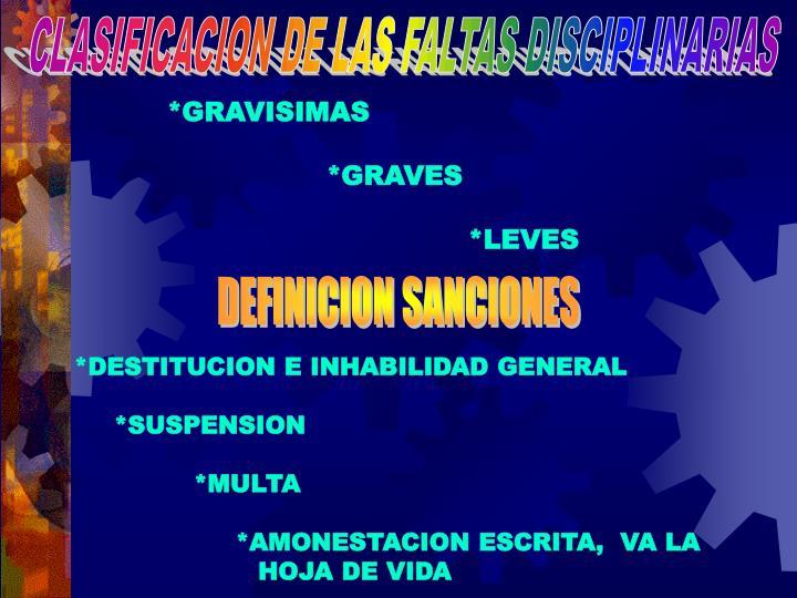 CLASIFICACION DE LAS FALTAS DISCIPLINARIAS