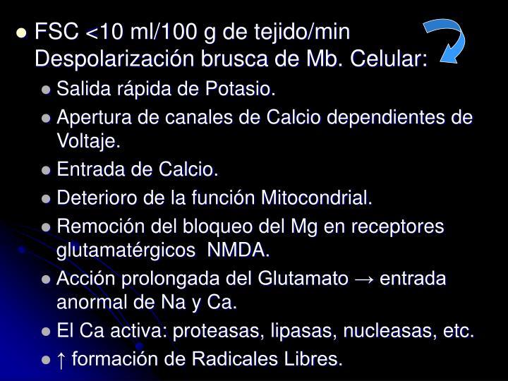 FSC <10 ml/100 g de tejido/min Despolarizacin brusca de Mb. Celular:
