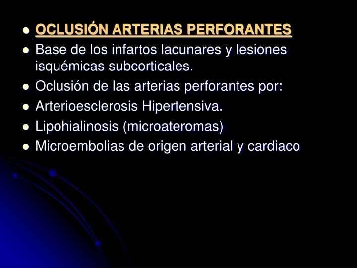 OCLUSIN ARTERIAS PERFORANTES