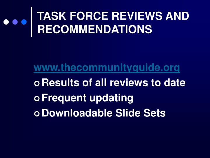 TASK FORCE REVIEWS AND RECOMMENDATIONS