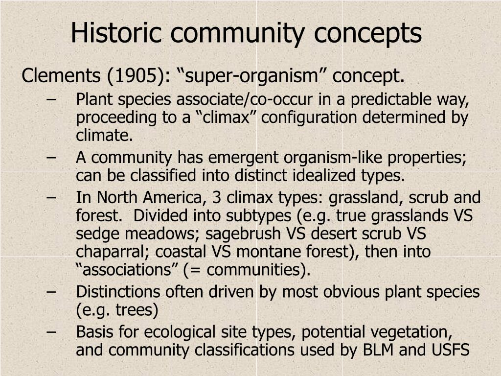 Historic community concepts