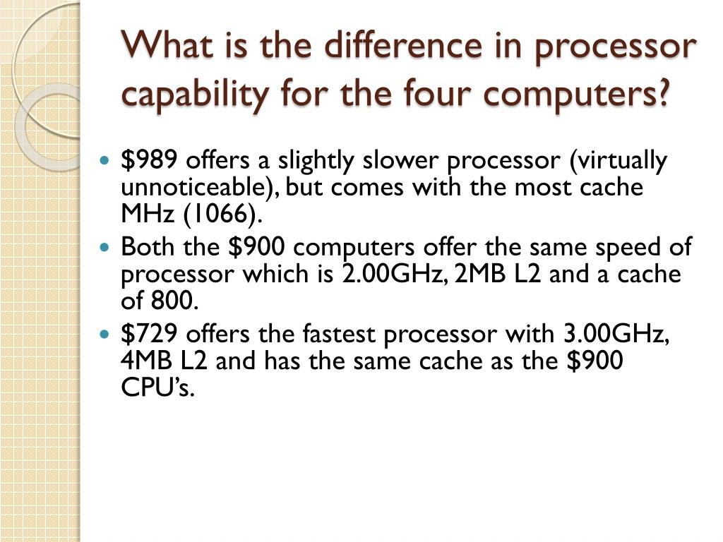 What is the difference in processor capability for the four computers?