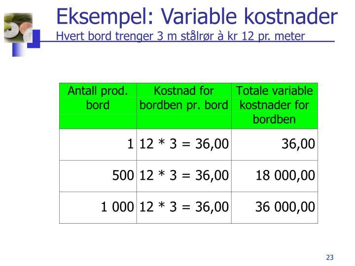 Eksempel: Variable kostnader