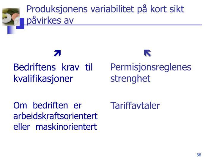 Produksjonens variabilitet på kort sikt påvirkes av