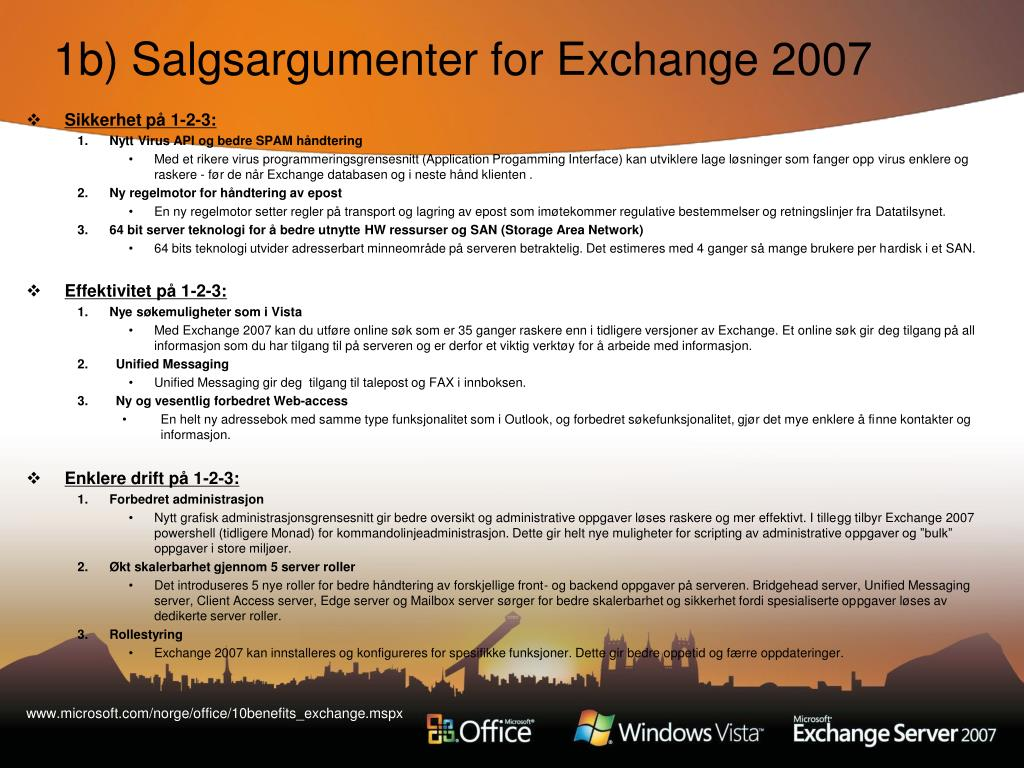 1b) Salgsargumenter for Exchange 2007