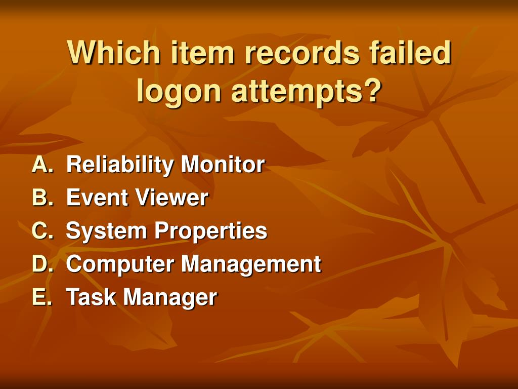 Which item records failed logon attempts?