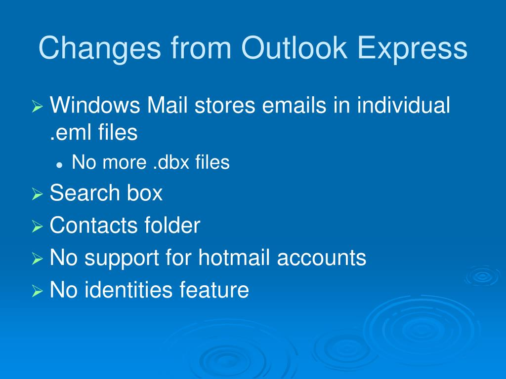 Changes from Outlook Express