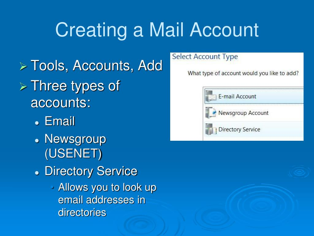 Creating a Mail Account